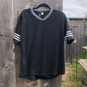 Adidas black 3 striped shortsleeved shirt